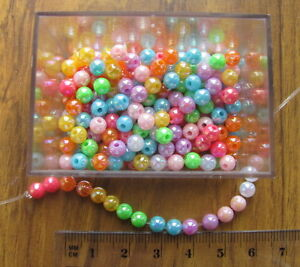 250 opaque smooth round plastic acrylic AB beads 5mm choose colour