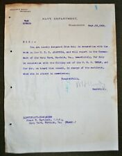 1902 Navy Doc. - Signed by Sec. of Navy William H. Moody to Frank W. Bartlett