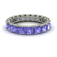 4.40 Ct Genuine Diamond Tanzanite Wedding Bands 14K White Gold Ring Size 8 9