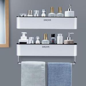 Bathroom Shelf Shower Caddy Organizer Wall Mount Shampoo Rack With Towel Bar No