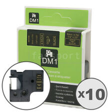 """10pk Gold on Black Tape Label Compatible for DYMO 43624 D1 6mm 1/4"""""""