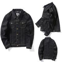 Men's Slim Fit Denim Jean Jacket Cotton Jeans Coat  Black Button Front Trucker