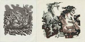 2 Ex libris with unicorn Exlibris by VERCHOLANCEV MICHAIL / Russia