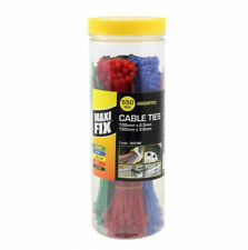 500PC CABLE TIES ASSORTED COLOURS, LENGTH- ZIP TIE RED BLUE GREEN YELLOW