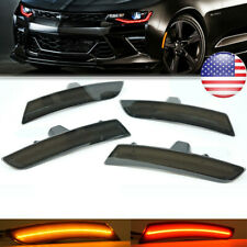 4* Smoke Lens LED Front+Rear Side Marker Lights For 2016-2018 Chevy Camaro US