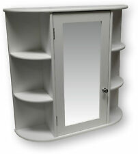 White Wooden Indoor Wall Mountable Bathroom Cabinet With Shelves and Mirror Door