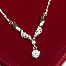 18Ct Rose Gold Plated Simulated Diamonds 0.50 Carat Round Cut Sparkling Necklace