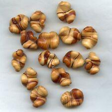 """401033 *** 3 très originales perles lampwork """"TORSADES CARAMEL"""" 22x17mm"""