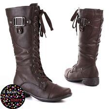 Stivale tacco basso zip&stringhe donna stringato marrone nero nuovo