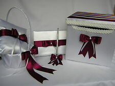Wedding Accessory Burgundy  Flower Girl Basket Ring Pillow Guest Book Card Box