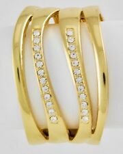 GOLDTONE CUFF BRACELET WITH CLEAR CZ ACCENTS