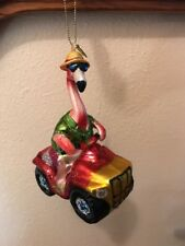 "BRIGHTEN THE SEASON  ""FLAMINGO on a 4-WHEELER"" Christmas Ornament new"