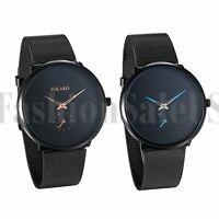 Fashion Men's Women's Metal Mesh Band Stainless Steel Quartz Analog Wrist Watch