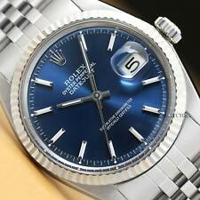 ROLEX MENS DATEJUST BLUE DIAL 18K WHITE GOLD & STAINLESS STEEL WATCH
