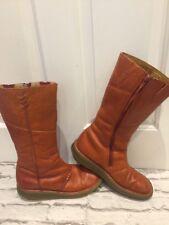 Women's Rare Leather Burnt Orange Dr Marten Calf Boots Uk6 EU39 10491