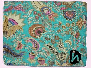 Ethnic Kantha Quilt Indian Bedspread Queen/Single Bedcover Sea Green Beach Throw