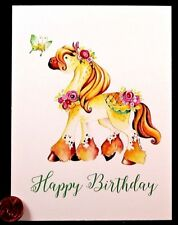 Adorable Pony Horse Butterfly Roses  Happy Birthday Blank Greeting Note Card NEW