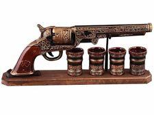 Geschenk-Set Souvenir Keramik Colt Flasche mit 4 Schnapsgläsern Stamper