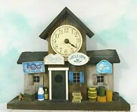 Vintage Hand Made Wooden General Store Front Model Decor with Clock & Battery