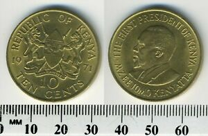 Kenya 1971 - 10 Cents Nickel-Brass Coin - President Mzee Jomo Kenyatta - #4