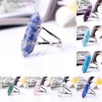 Crystal Natural Gemstone Stone Hexagon Healing Point Chakra Gems Bead Ring