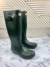 HUNTER Original Green Matte Tall Rubber Rain Boots Womens SIZE 6 FLAW