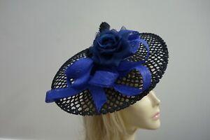 M & S fascinator black &  blue rose on head band new