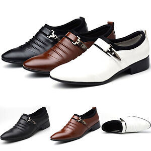 Mens Leather Formal Dress Casual Buckles Wedding Party Office Work Oxford Shoes