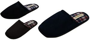 New Mens Faux Suede Slip On Mule Slippers Soft Tartan Lining Non Slip Hard Soles