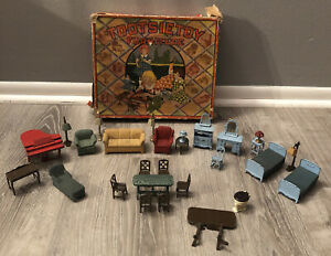 28 Tootsietoy Metal Furniture Piano Toilet Lamps Beds Couch And Original Box