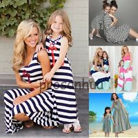 Mother Daughter Dress Summer Casual Family Clothes Womens Girls Sundress Outfits