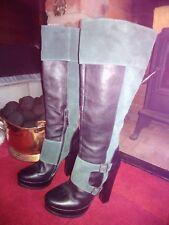 Ladies FAITH Black Leather Knee High Platform Boots size UK 8 / EU 42
