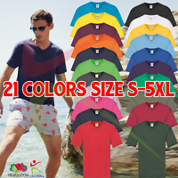 Mens Fruit Of The Loom Original V-Neck T-Shirt Cotton Casual Leisure Tee T Shirt