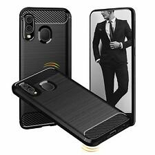 For Samsung Galaxy A40 Carbon Fibre Gel Case Cover Shockproof & Stylus Pen