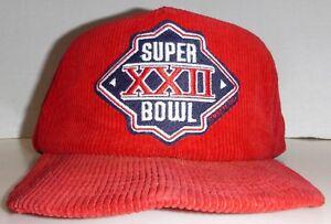 Super Bowl XXII Washington vs Denver Vintage 80's Red Courdoroy Snapback Hat
