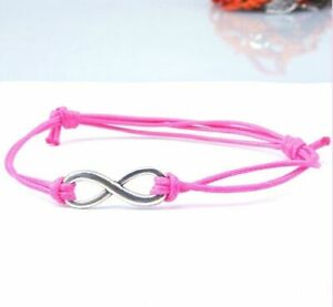 Antique Silver INFINITY Pink Cotton WaxCord Friendship Love Wish Bracelet Gift