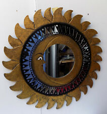 Espejo sol luna oro antiguo diámetro cm 80 con mosaico de vidrio sol/luna