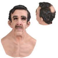 Old Man Mask Latex Male Disguise Cosplay Costume Halloween Party Realistic Masks