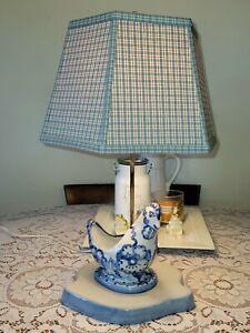 "MA Hadley Lamp Display ~ Country Blue Lamp w/ Original Hexagon Shade 23-1/2"""