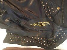 ED HARDY IRON LORDSmens XXL black leather panther tattoo art studded moto Jacket