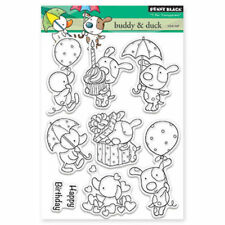 New Penny Black Buddy & Duck Clear Stamp Dog Duck Friends Cupcake Balloon Hearts