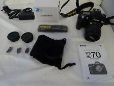 NIKON D70 camera + AF-S 18-70 1:3.5-4.5 lens Nikon accessories bundle working ch