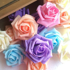 100 Foam Rose Heads Artificial Flowers Wedding Bride Hand Flower Party Decor