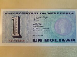 Bundle UNC 1 Bolivares Oct 5 1989 Consecutive UNC Banknotes Tinoquito 10-notes