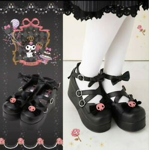 KUROMI Lolita Princess Round Toe Shoes Bowknot Thick TPR Sole Cos Shoe Pre order