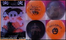 12 HALLOWEEN Orange Black BALLOONS Scary Spooky Horror Party Decoration NEW