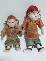 2▪Chinese Dolls Handpainted, Burlap Stuffed w/Sawdust Paper Maché Composition