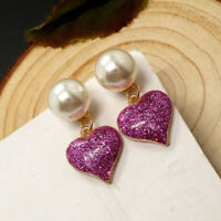 Purple Sparkly Bling Heart Pearl Stud Interchangeable Fashion Earrings