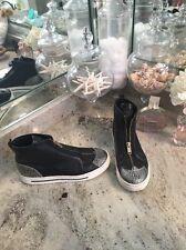 Marc Jacobs Hi Top Black Silver Zip Fashion Sneakers sz 37