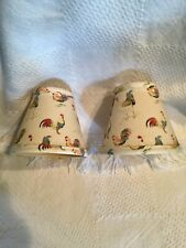 """Set of 2 antique Rustic Cream Rooster Lamp Shade small Lampshade 4.5"""". X 5"""" VGUC"""
